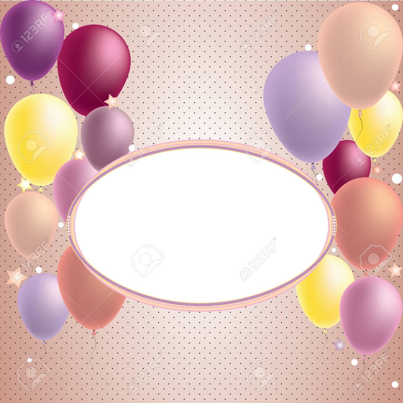 Tarjeta De Invitación De Globo De Feliz Cumpleaños Y Fiesta Con Lugar Para Texto