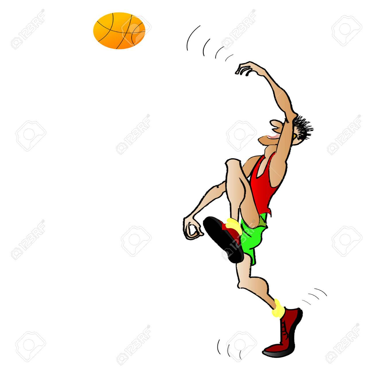 The basketball player in a red vest a throwing ball Stock Vector - 7672769