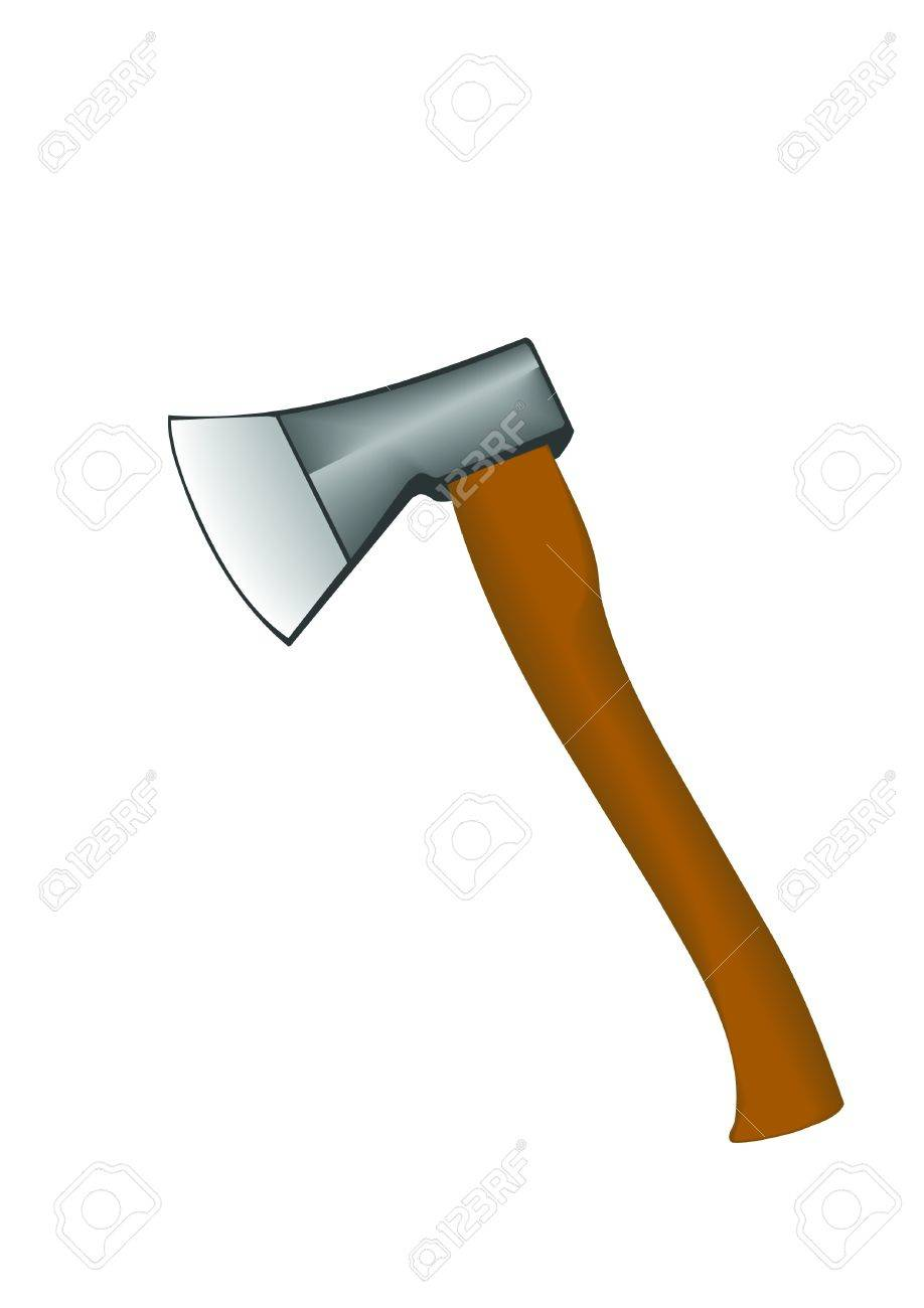 Vector Illustration An Axe With The Wooden Handle. Royalty Free ...