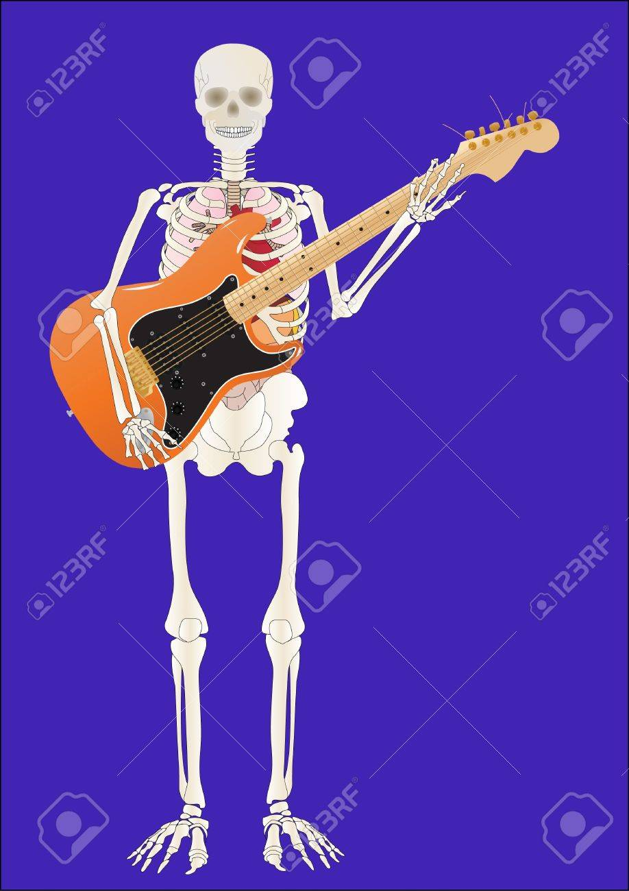 Vector a skeleton of the person with a guitar in hands Stock Vector - 9079880