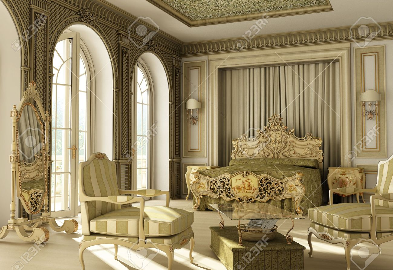 3D rendering of a luxury rococo bedroom with double window on balcony   Stock Photo. 3D Rendering Of A Luxury Rococo Bedroom With Double Window On