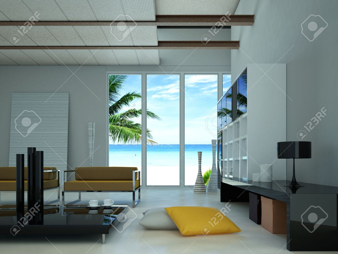 Modern livingroom, with a large window showing a tropical beach with a palm outside. Stock Photo - 11924591