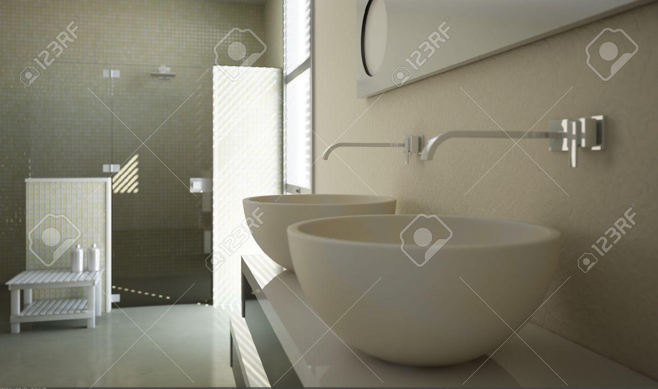 Modernt badrum vy med nära upp på handfat och en duschkabin i ...