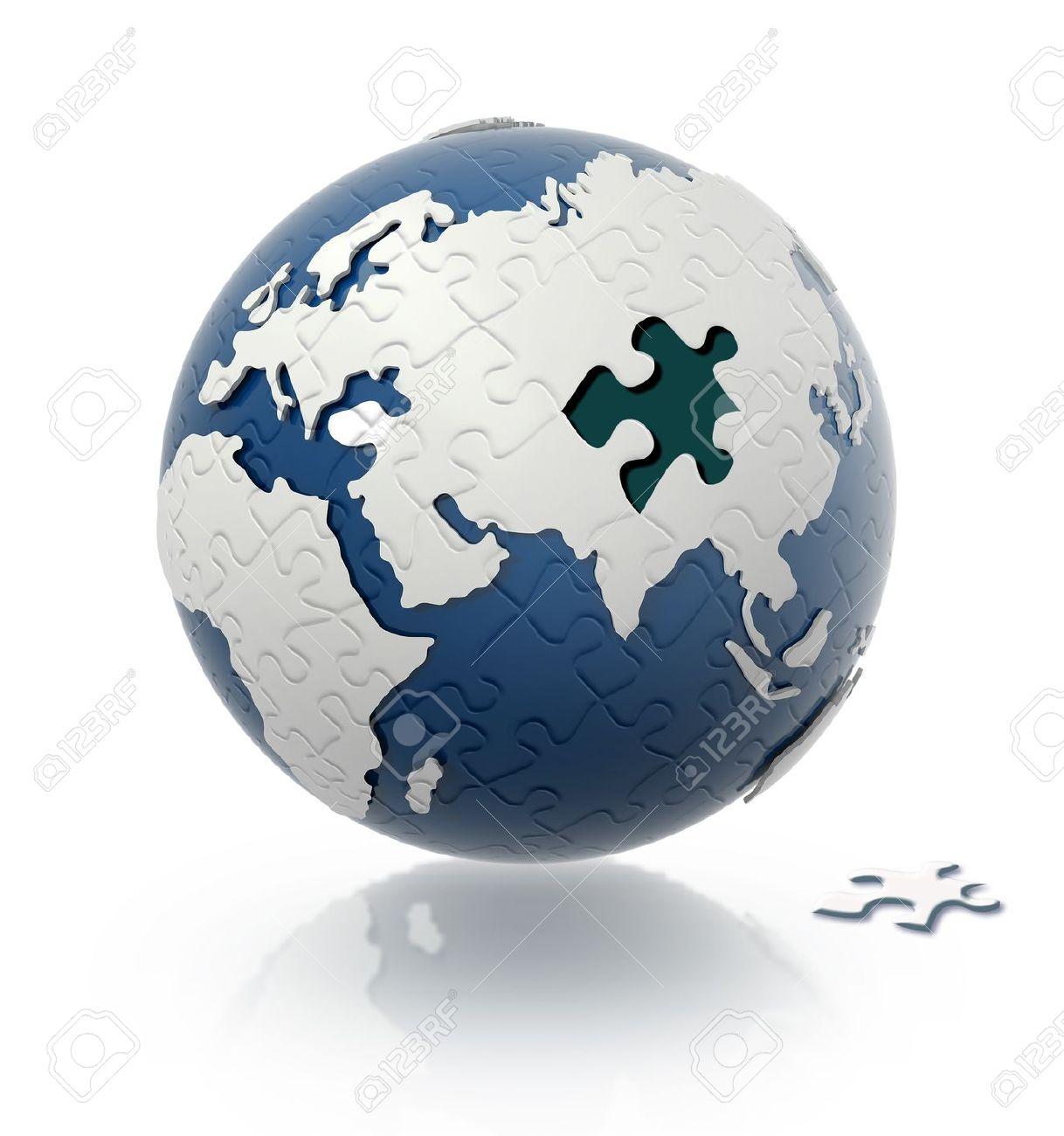 cca43cc02eb Banque d images - Globe terrestre avec le modèle de puzzle et d une seule  pièce sur le sol.