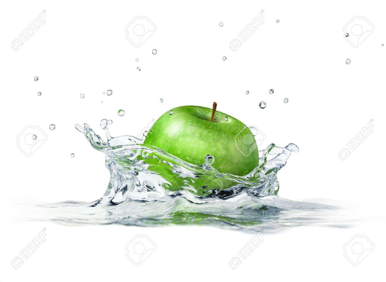 Green apple splashing into water. close up side view, with depth of field. 3 D digital rendering, on white background. Stock Photo - 11779859