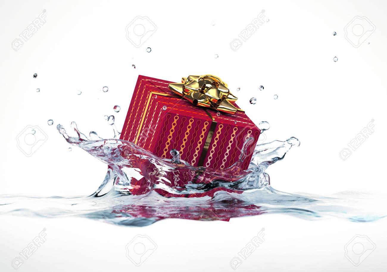 Decorated gift falling into water splashing  On white background Stock Photo - 19893735