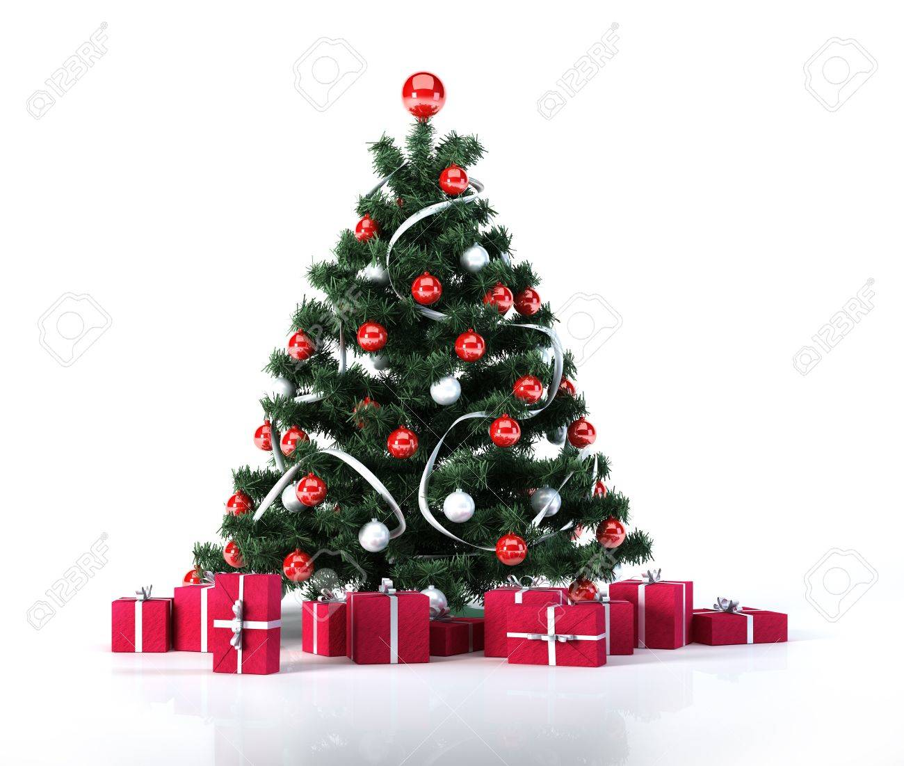 Christmas Tree With Golden And Decoration Below It There Are Several Gifts Packages All