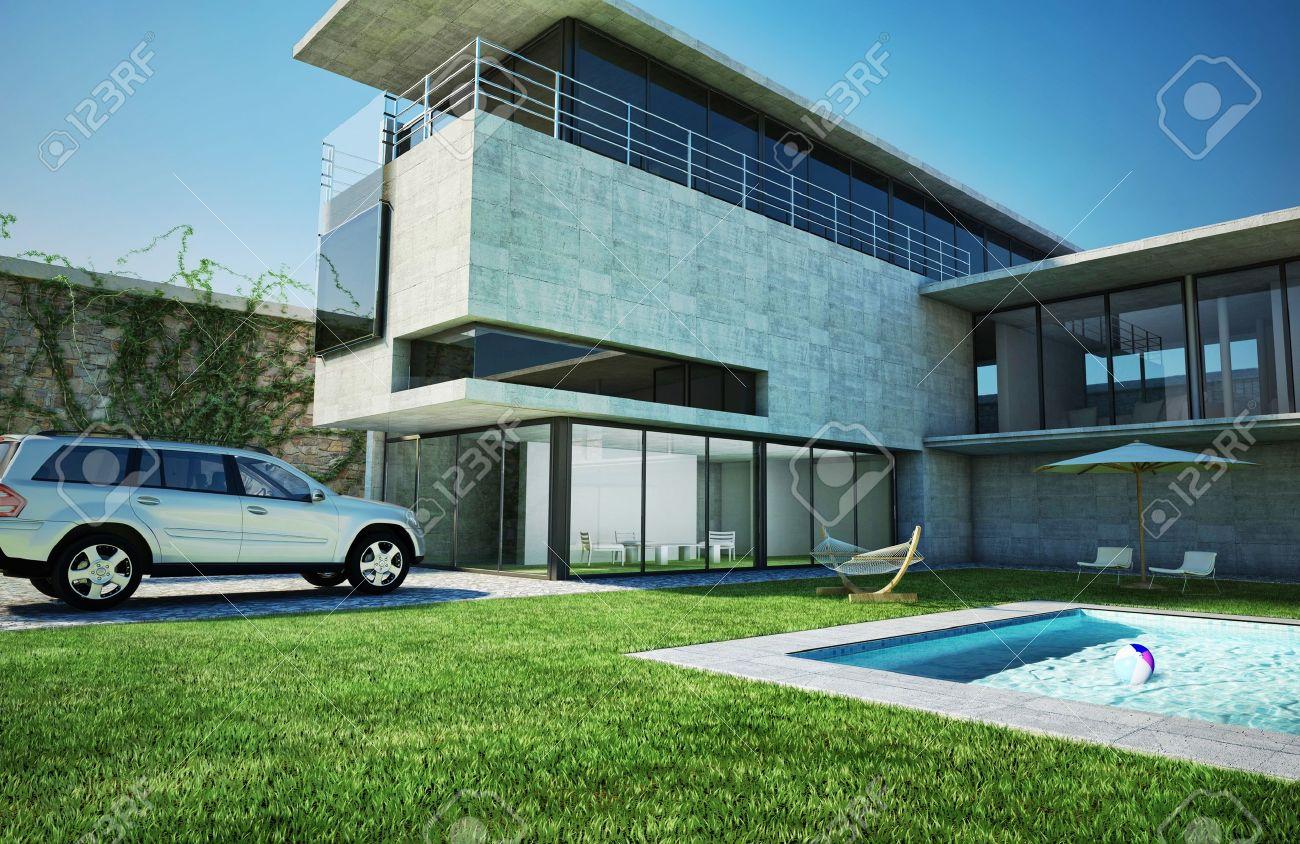 Parfait Banque Du0027images   Villa De Luxe Moderne Avec Piscine Architectural Très  élégant De Natation, Faite De Béton Et De Verre