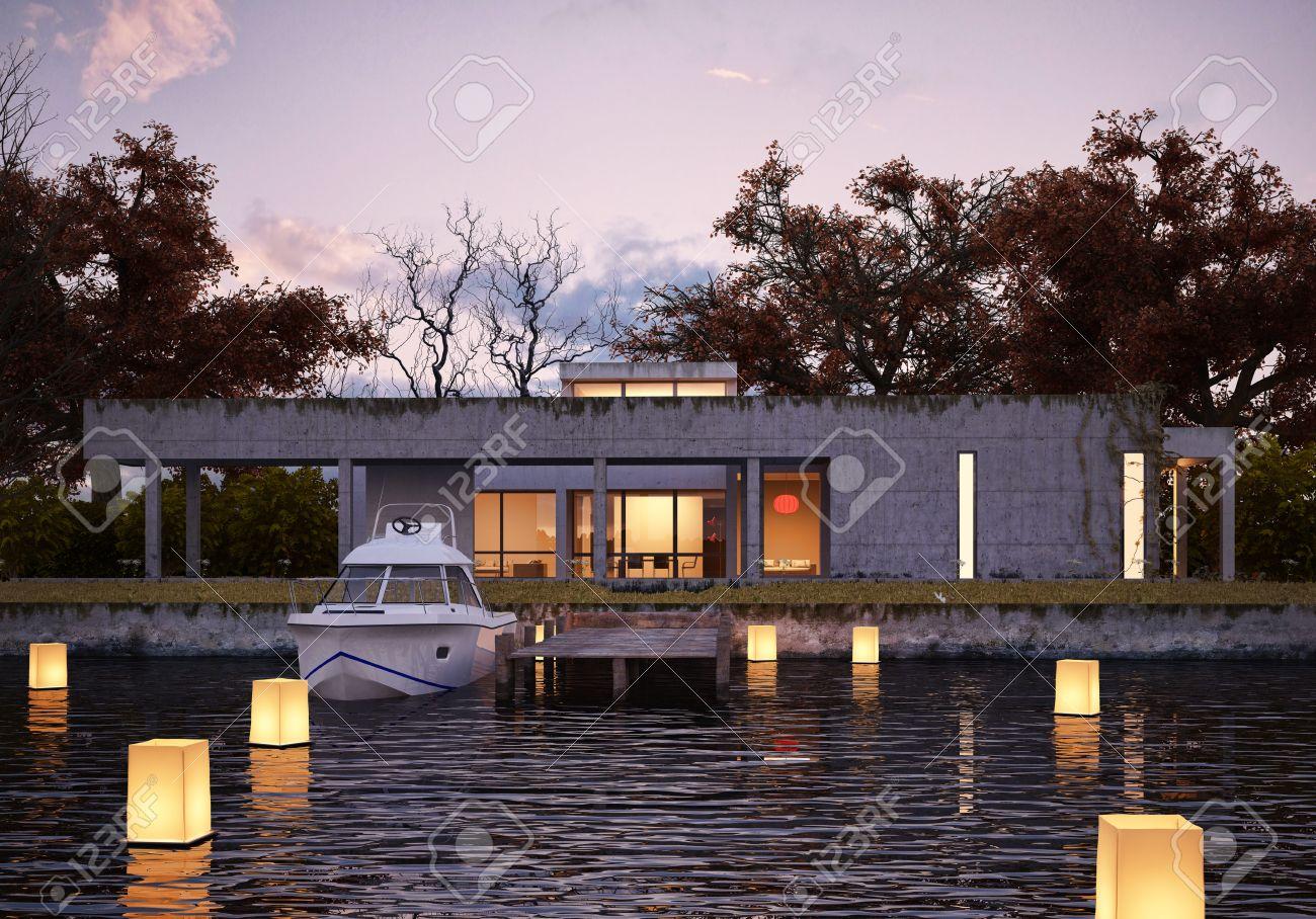 Maison De Luxe Moderne Sur L\'eau Au Coucher Du Soleil, Avec Les ...