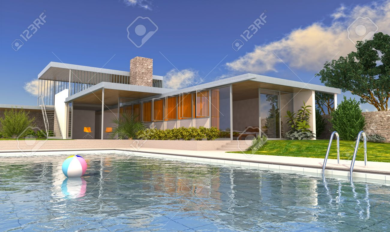 Modern house with swimming pool in daylight with blue sky and fluffy clouds on background