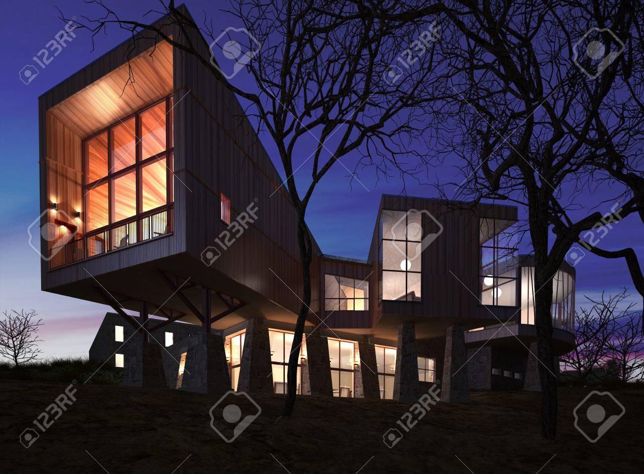 Haus am meer bei sonnenuntergang  Sehr Moderne Und Stilvolle Haus Aus Holz, Stein Und Glas Nach ...