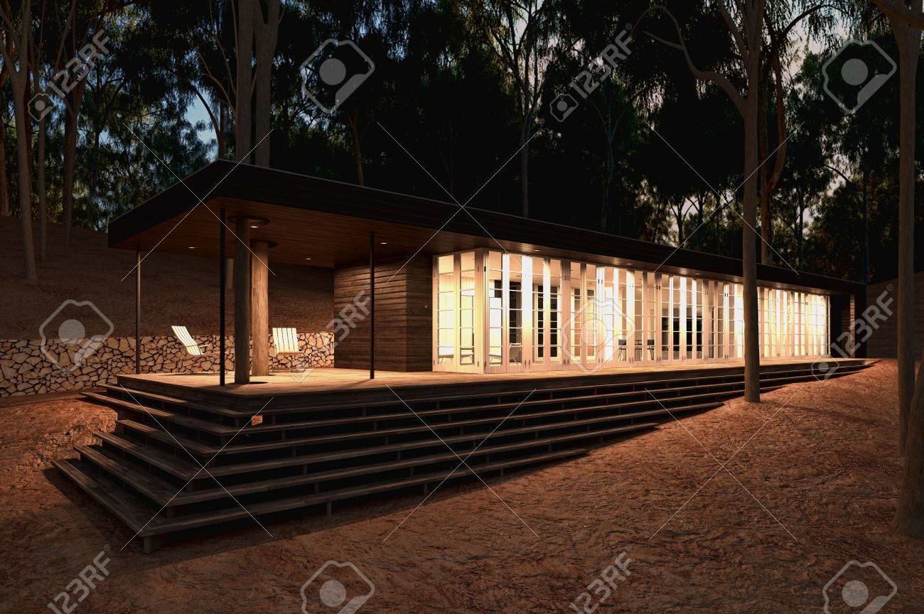 Modern Wood House Modern Wood House In The Forest Late Afternoon Almost Night