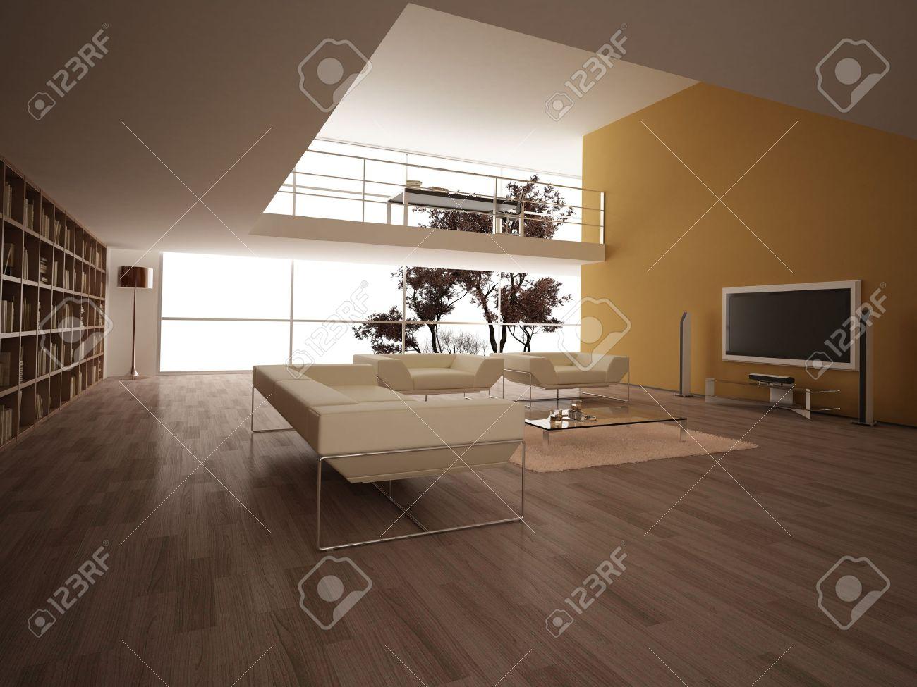 Moderne Große Wohnzimmer, Mit Holzfußboden, Bücherregale Und Andere ...