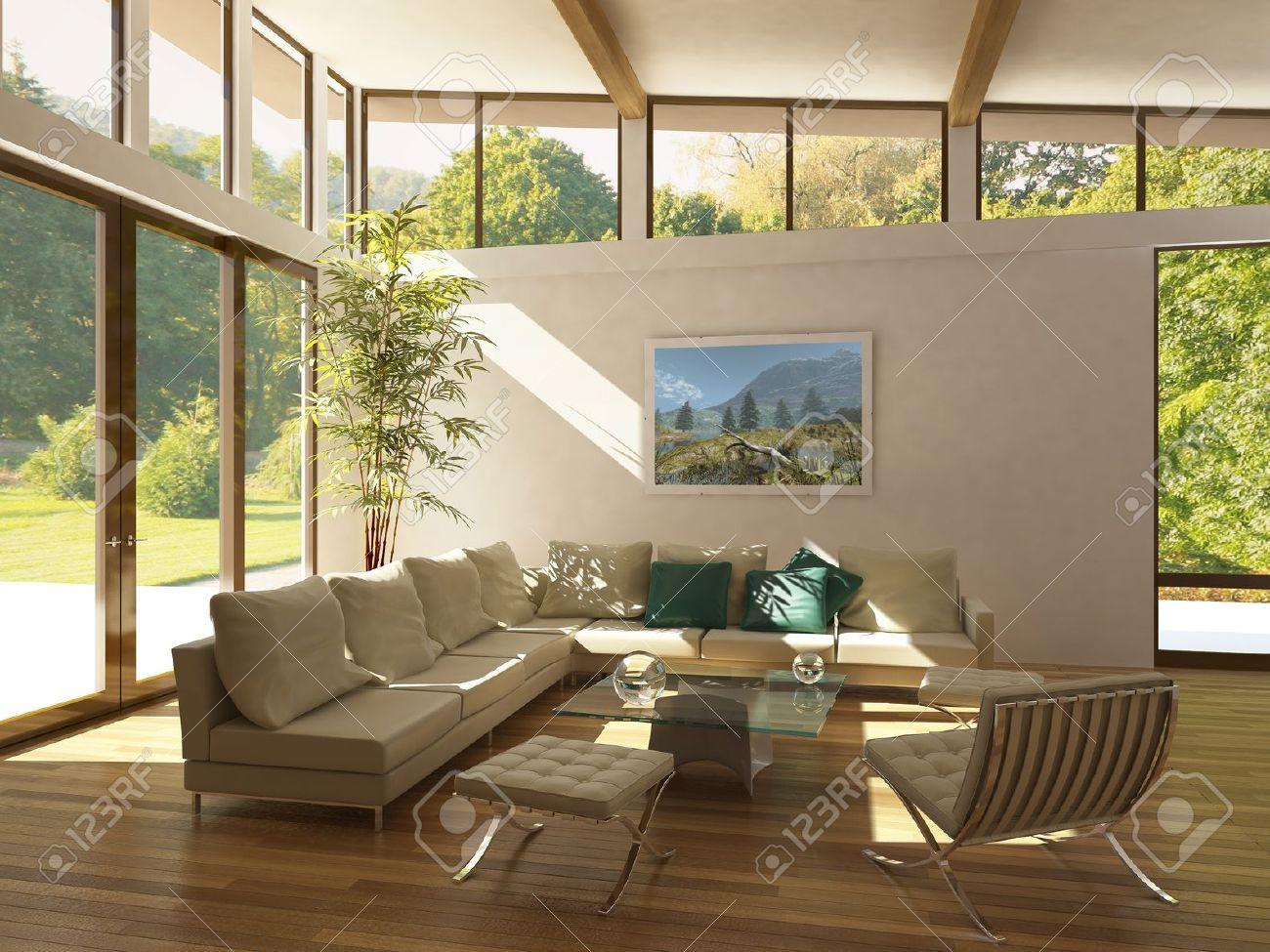 Moderne woonkamer met grote ramen, houten vloer en plant. groen en ...