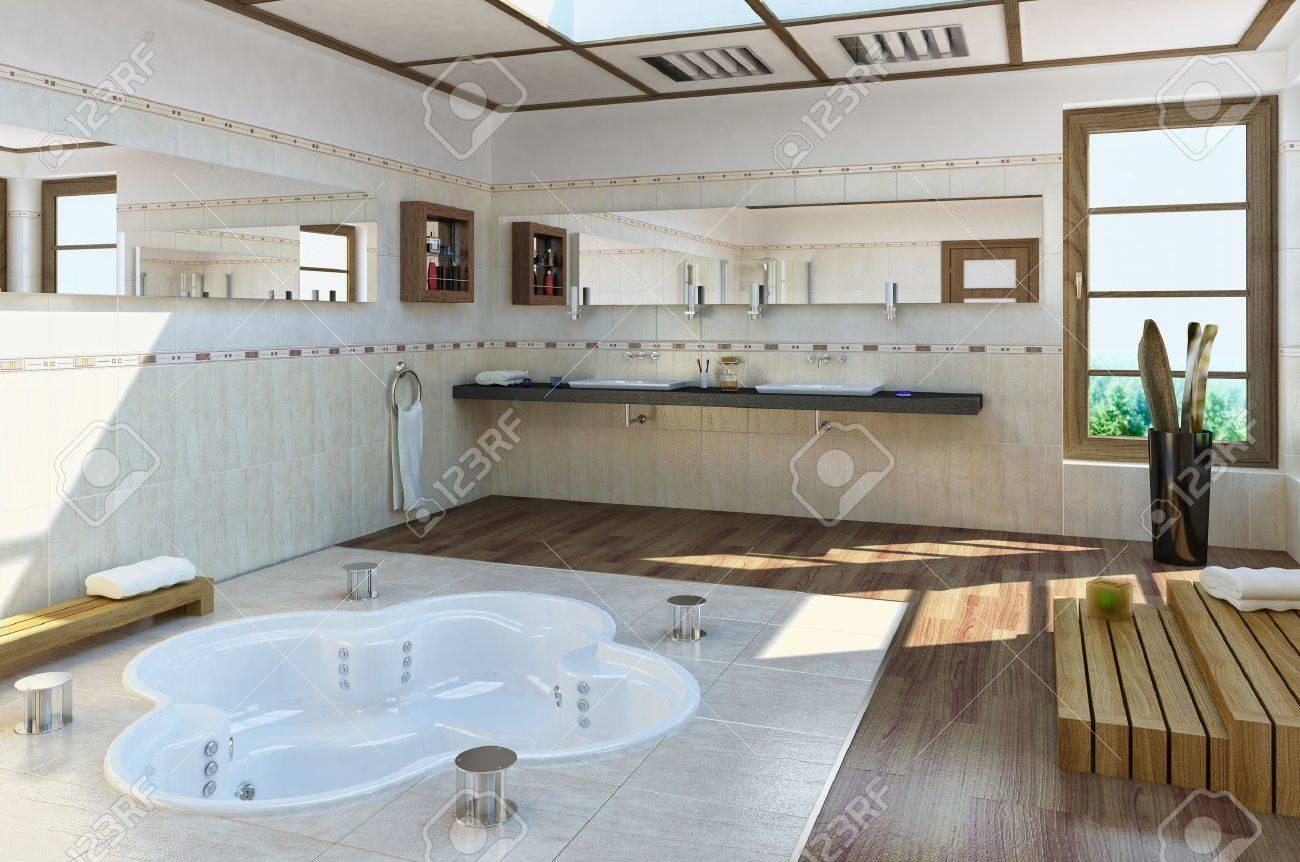 Große Luxus Badezimmer Mit Bathub In Den Boden Standard Bild   19893850