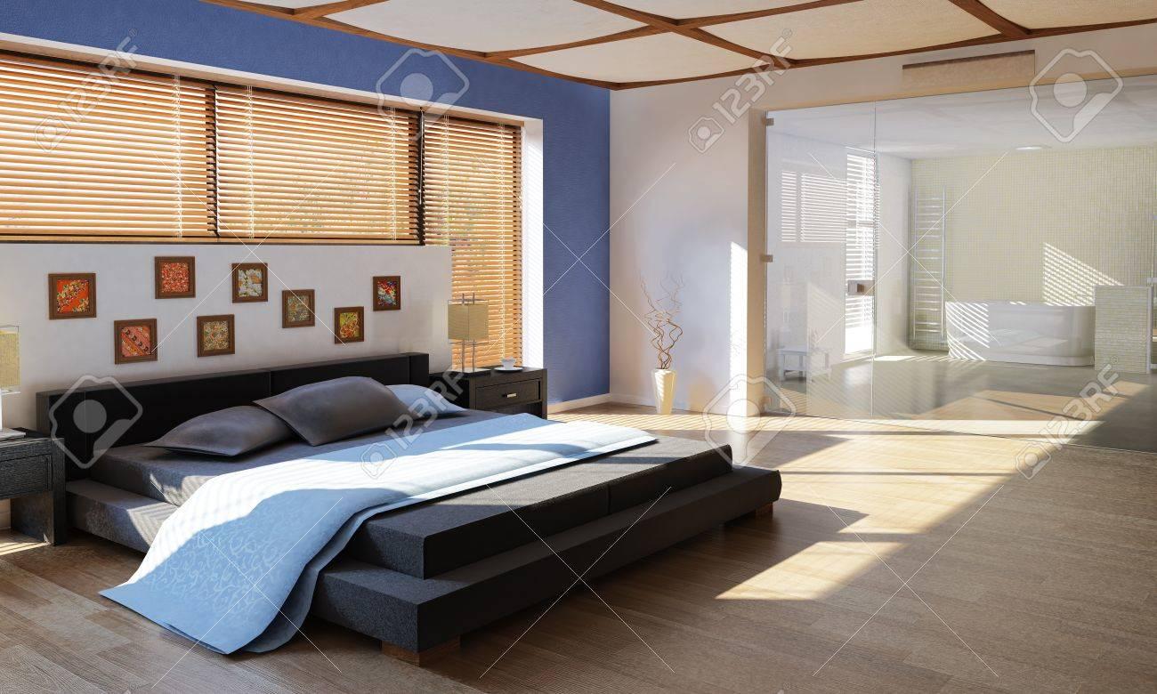 Moderne Luxus Schlafzimmer Mit Bad, Durch Eine Große Glasscheibe Getrennt  Standard Bild