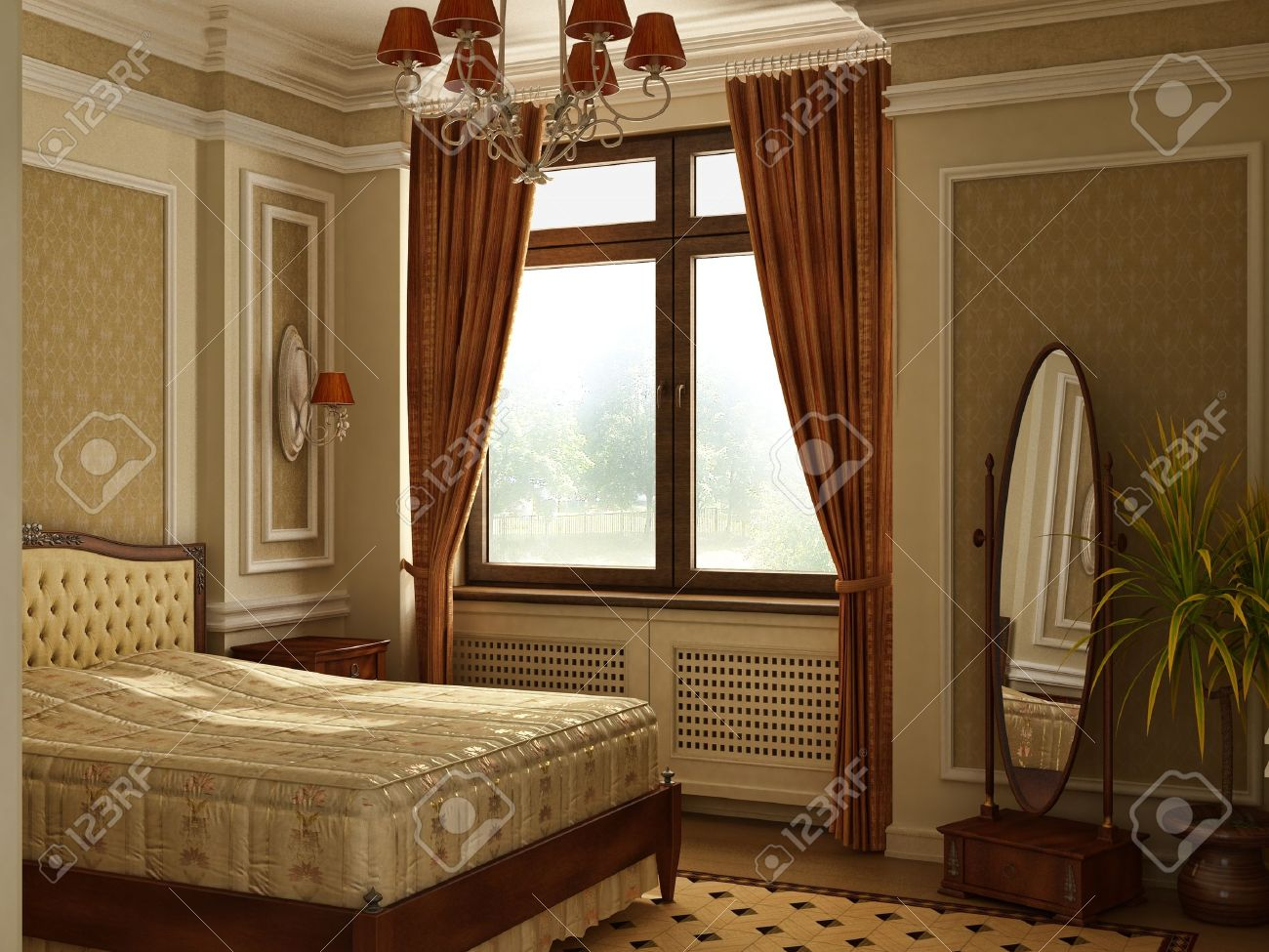 Old Style Bedroom Furniture Classic Antique Style Bedroom With Window Stock Photo Picture And