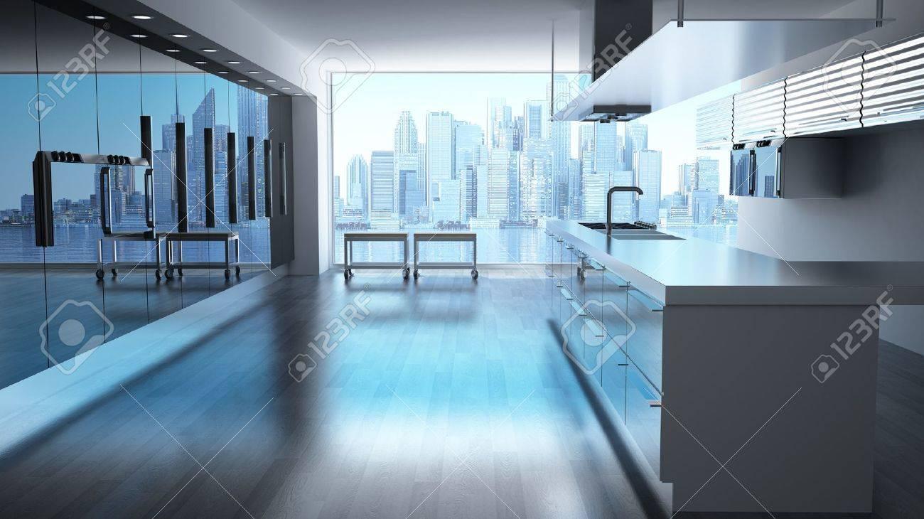 Moderne High Tech Kuche Mit Blick Auf Wolkenkratzer Stadtbild