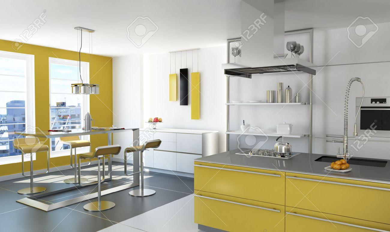Cuisine Jaune Moderne Avec îlot Table Et Tabourets