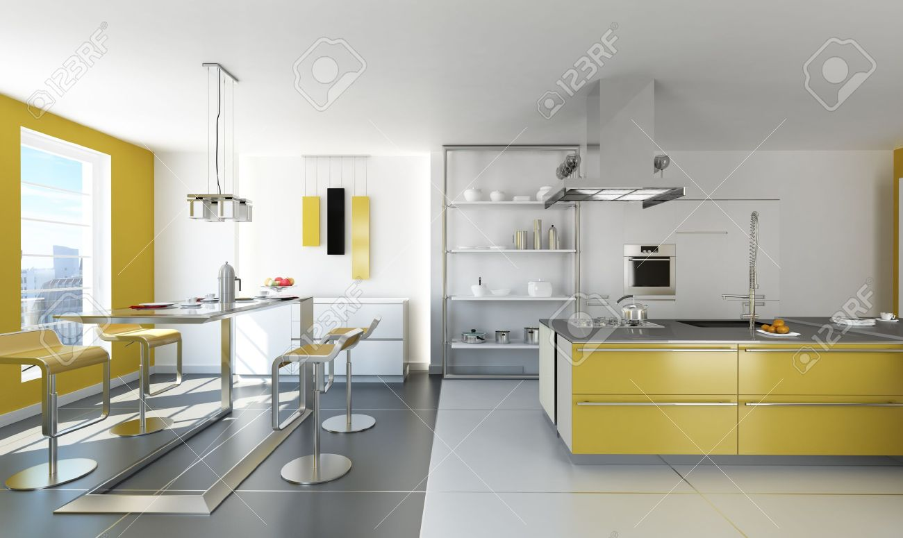 modern white and yellow kitchen with isle and table stock photo