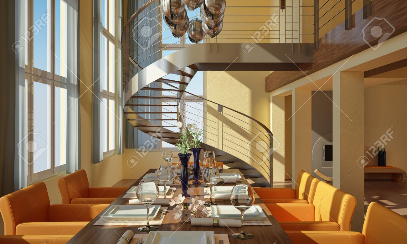 Modern dining-room with wide windows, table set, spiral staircase and fireplace Stock Photo - 19893934