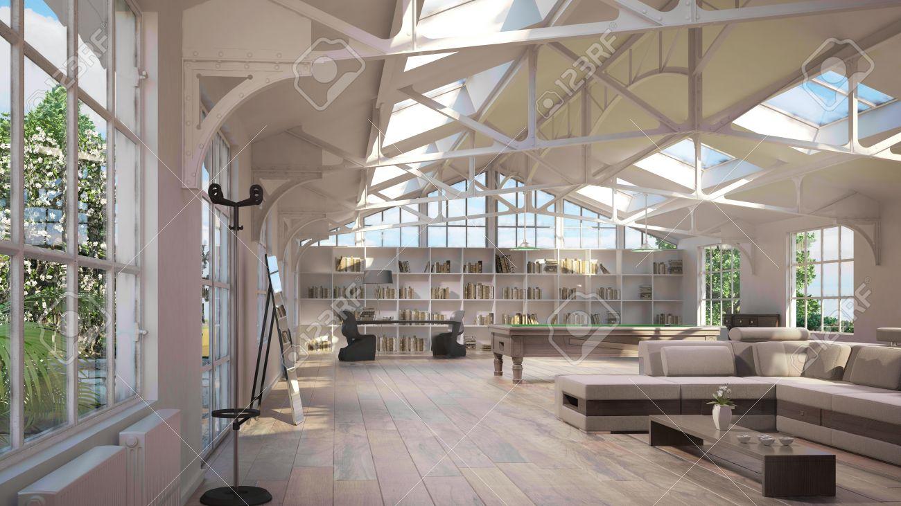 Luxus Loft Interieur, Mit Alten Metall-Struktur Auf Decke Und ...