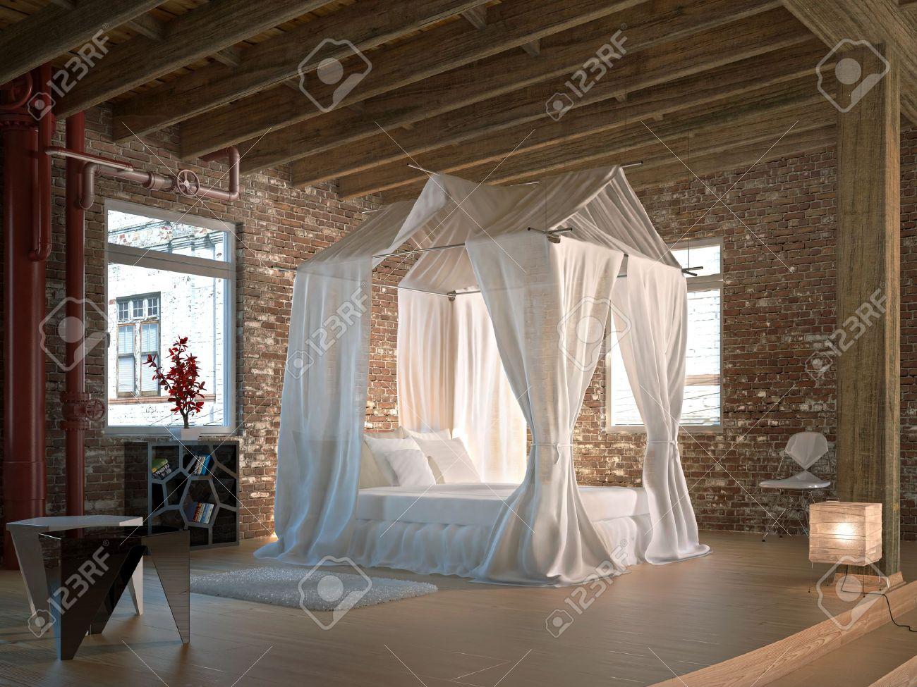 Luxus schlafzimmer mit himmelbett  Luxus Loft-Schlafzimmer Mit Himmelbett Holz Boden Und Decke Und ...