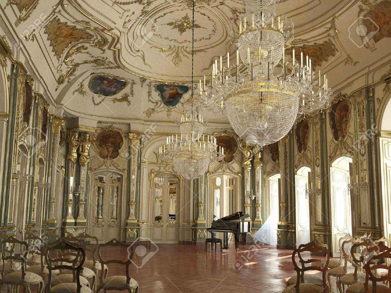 Majestic Grande Sala Da Concerti Di Pianoforte Decorato Con ...