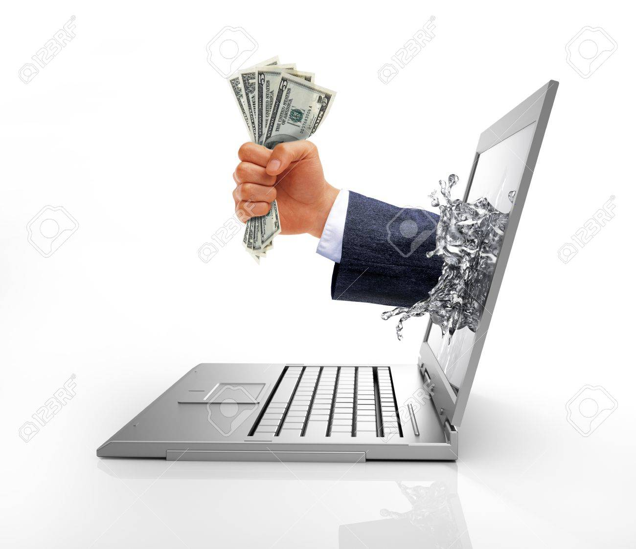 Human hand with money, coming out from a liquid splash on the computer screen. Isolated on white background, with clipping path included. Stock Photo - 19893790