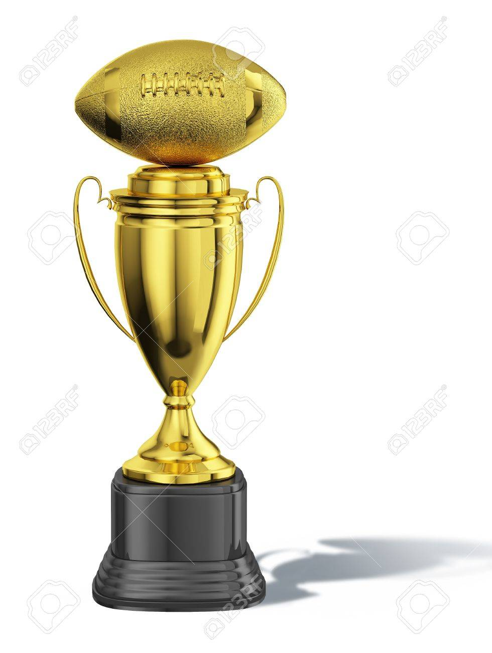 Stock Photo Trophy Cup With An American Football Ball At The Top All In Gold With Black Basement