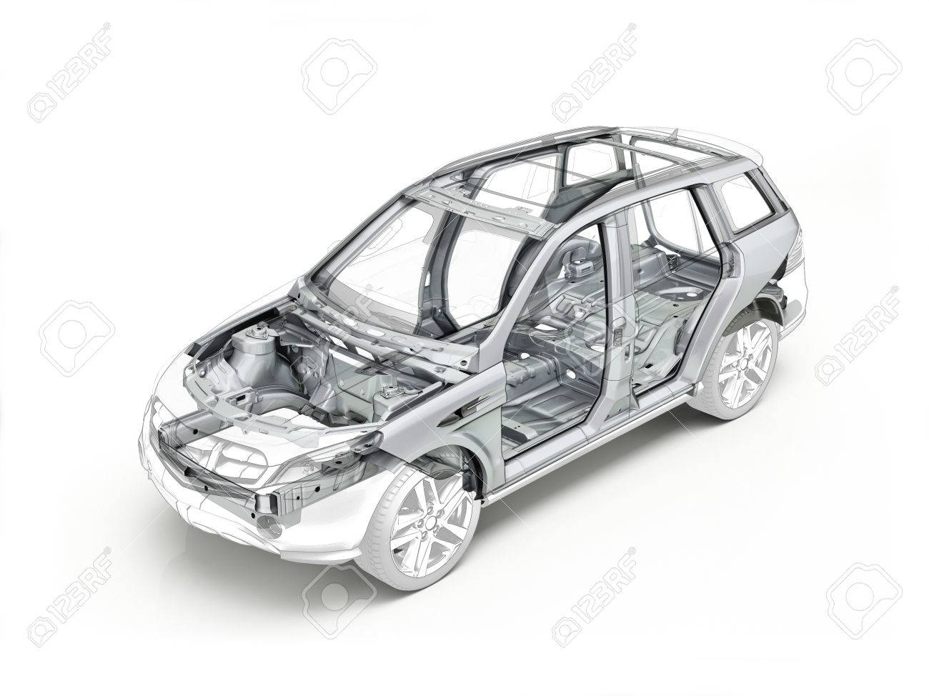 Suv Technical Drawing Showing The Car Chassis Realistic In Ghost ...