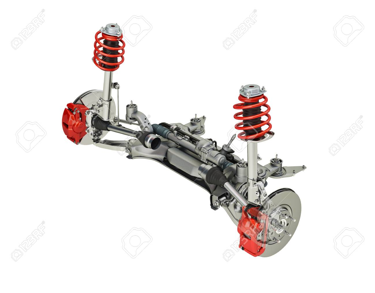 Multi link front SUV car suspension, with brakes. perspective view. On white background, clipping path included. 3D rendering. - 85699289
