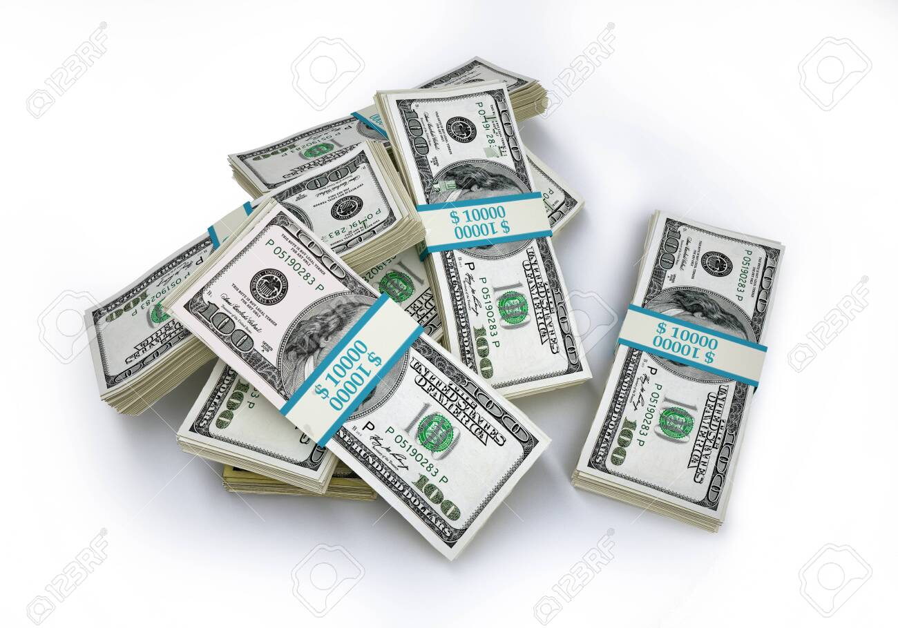 Money. Group of few wads of 100 USD banknotes. Viewed from above. 3D illustration on white background. - 139594172