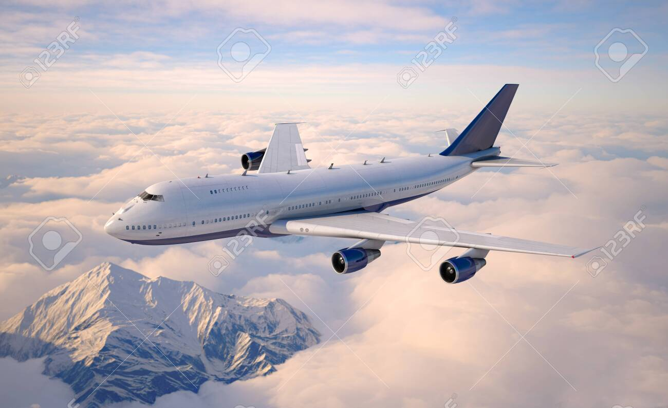 Passenger aircraft flying above the clouds. 3d illustration. - 147677618