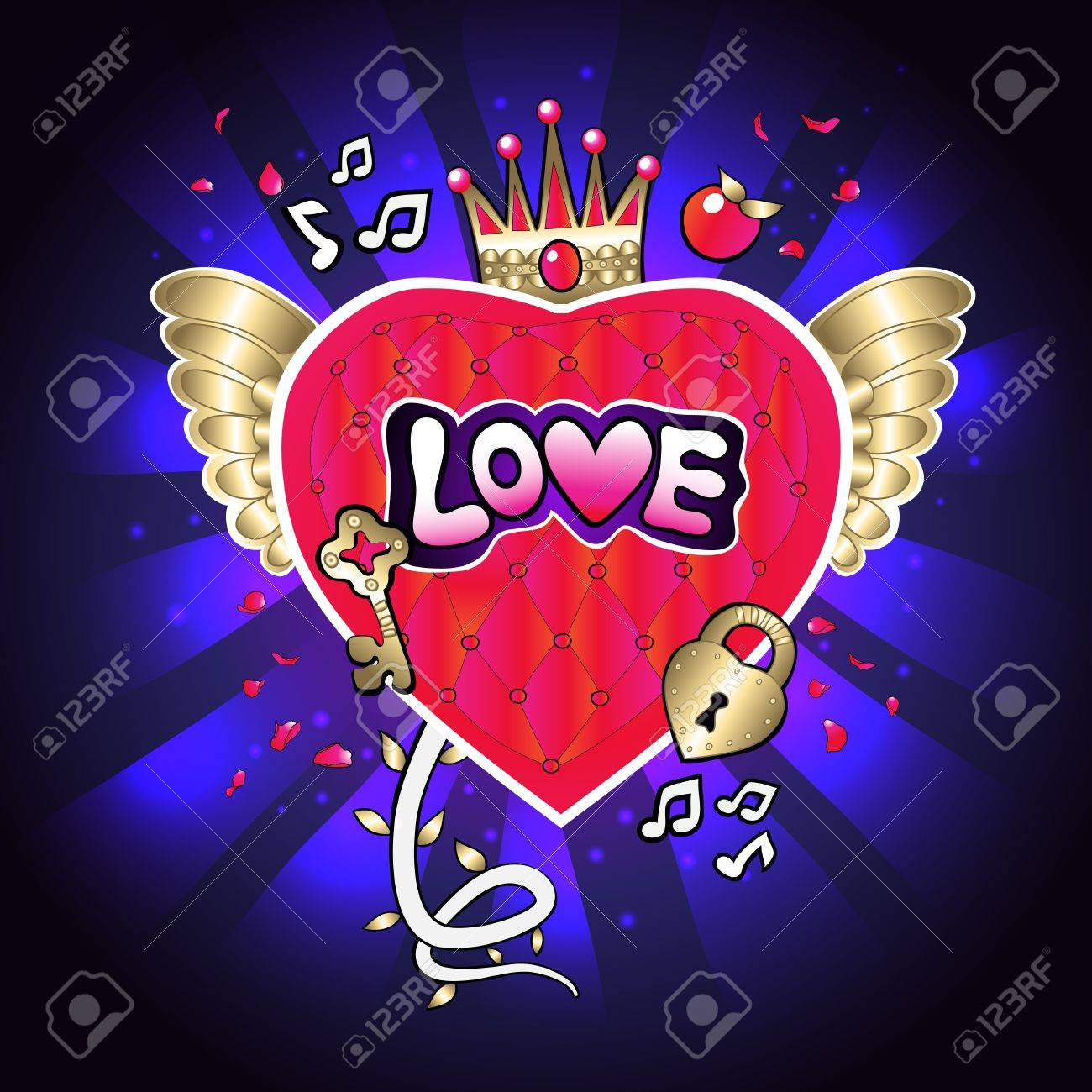 flying on the wings of the heart with a crown and a lock and key notes of rose petals Stock Vector - 17320096