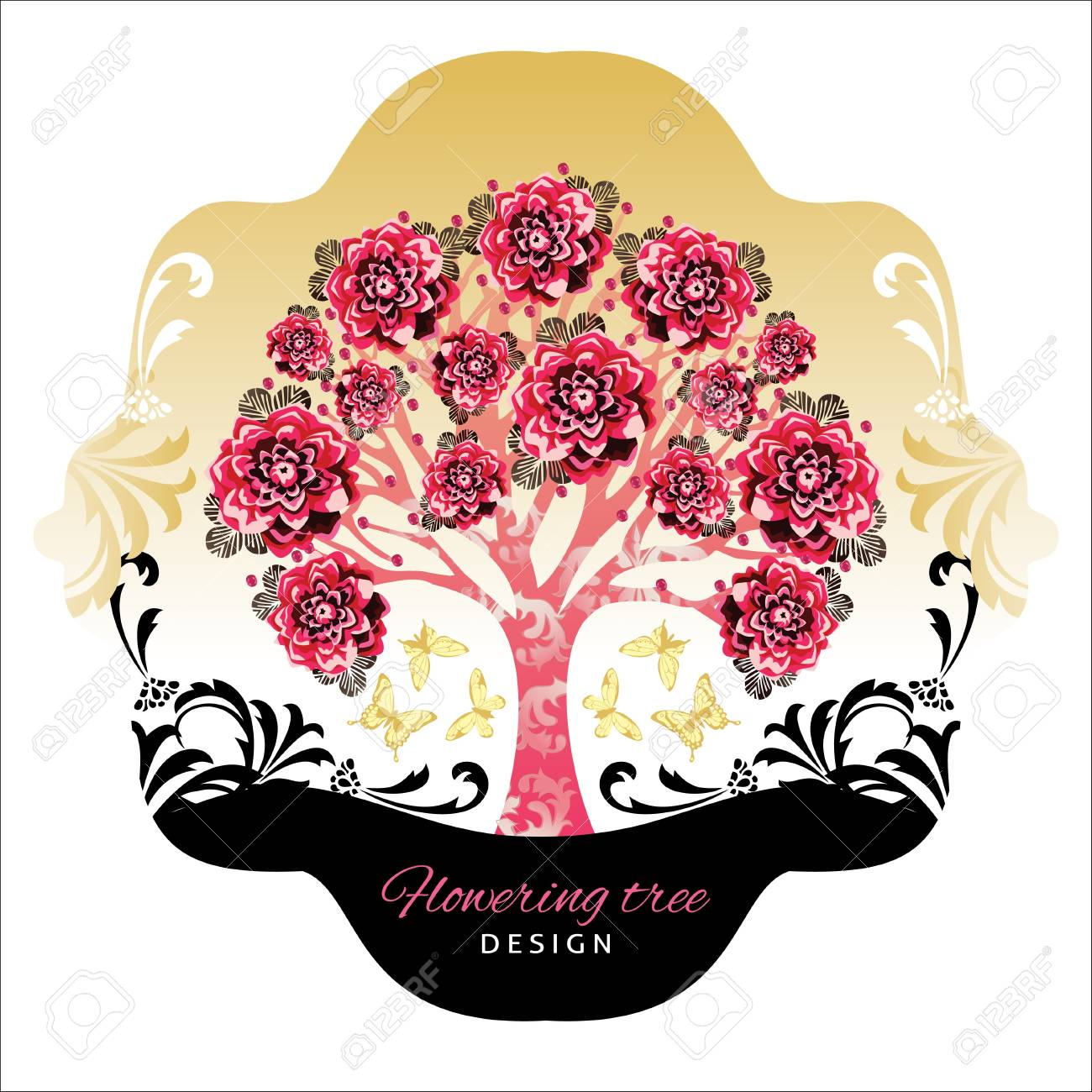abstract beautiful tree with flowers and decor Stock Vector - 17349888