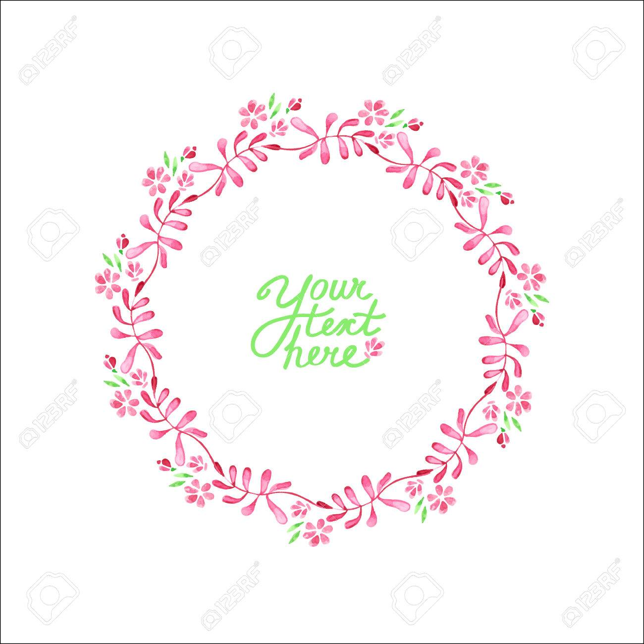Vector Watercolor Flowers Circle Frame It Can Be Used For Invitation