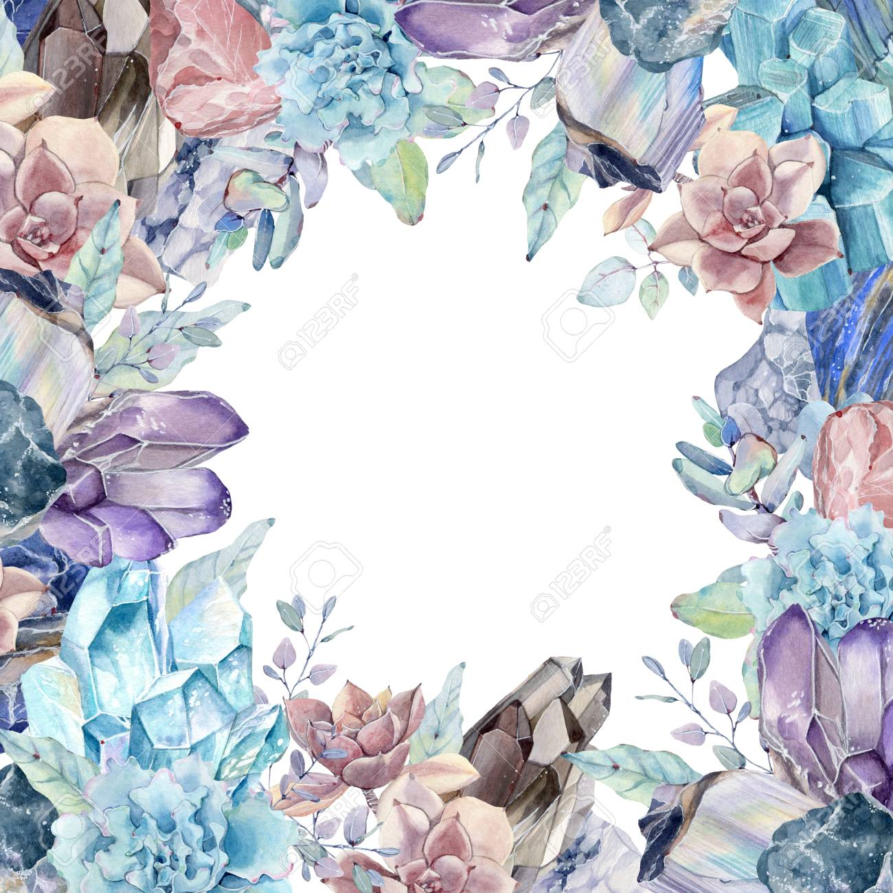 Watercolor Gemstones And Succulents Background Perfect For Elegant Stock Photo Picture And Royalty Free Image Image 89883984