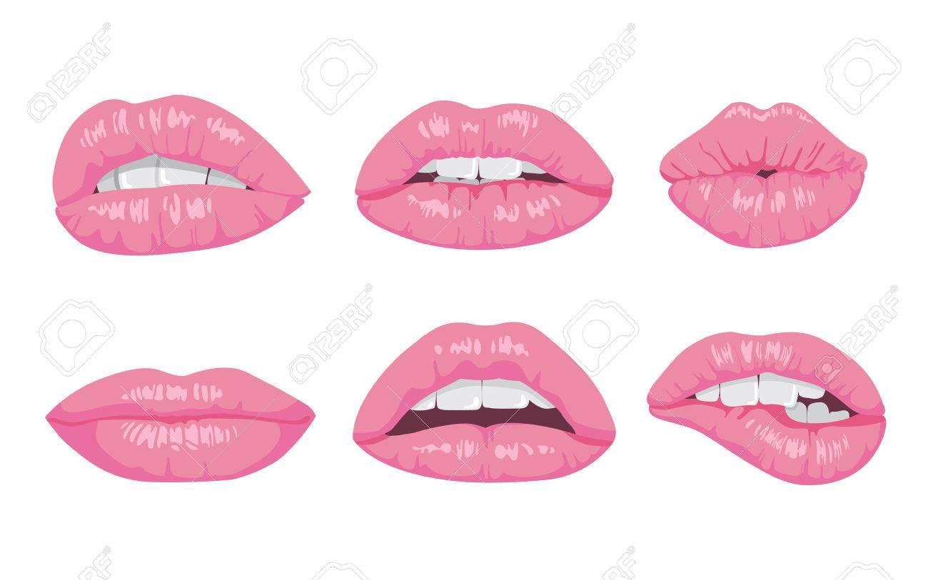Hohe Detaillierte Glänzenden Lippen Und Mund Illustration. Öffnen ...