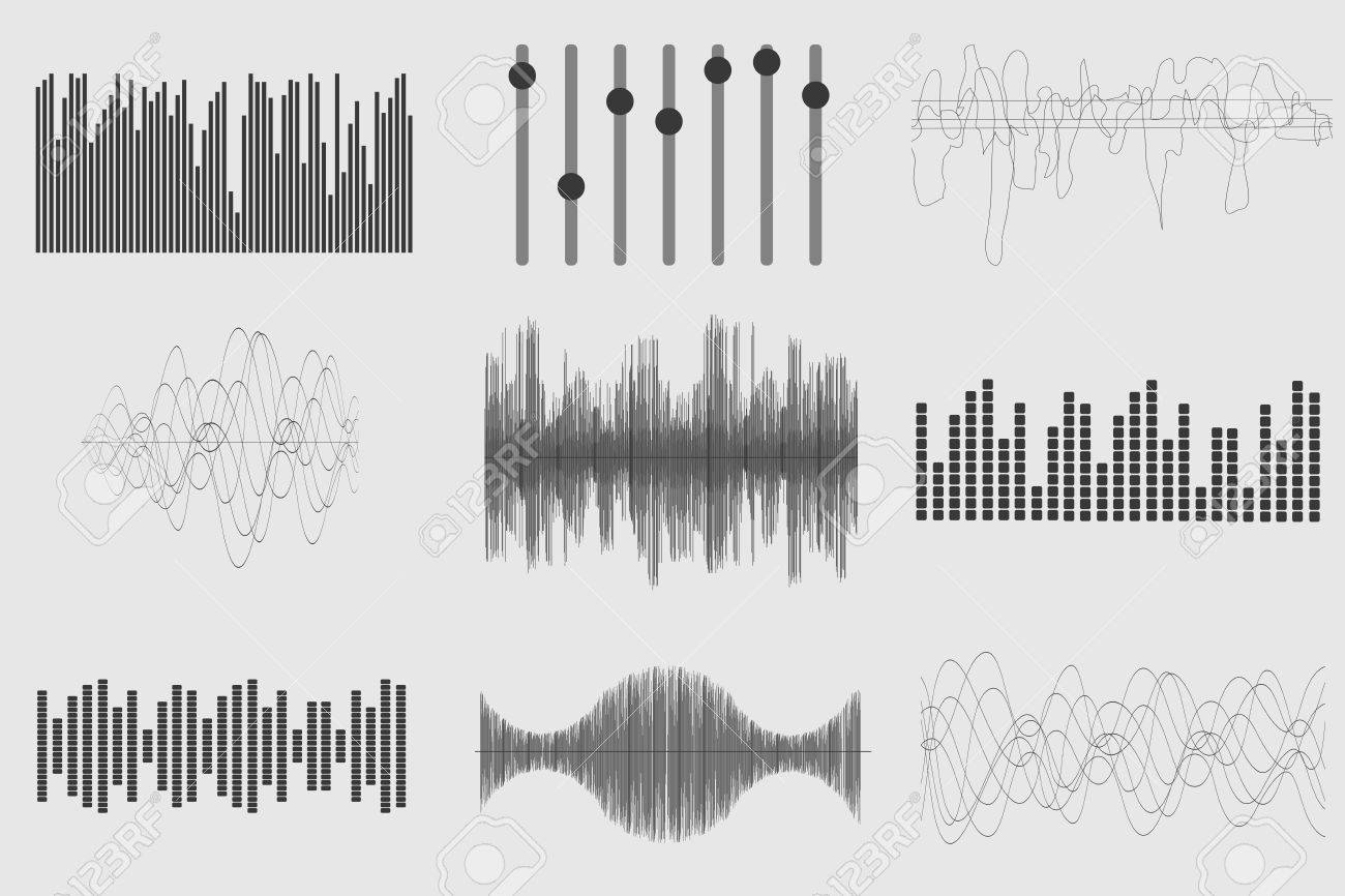 Black sound music waves on white background. Audio technology, visual musical pulse. Vector illustration - 54907085