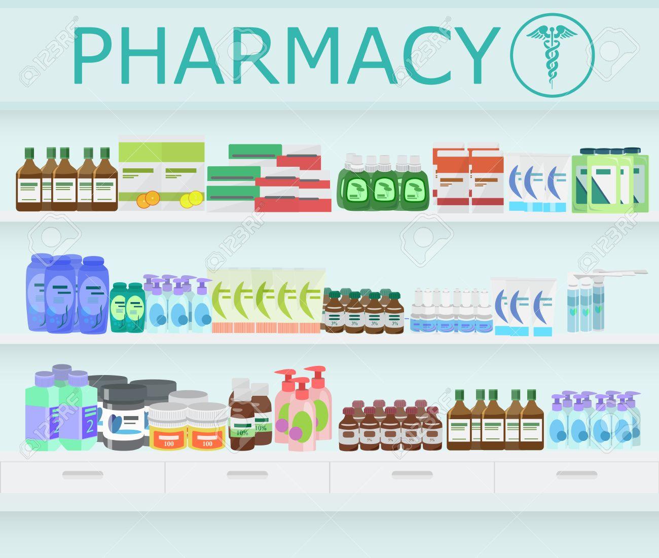 現代の薬局とドラッグ ストア内部薬や薬局の棚にビタミン薬のイラスト