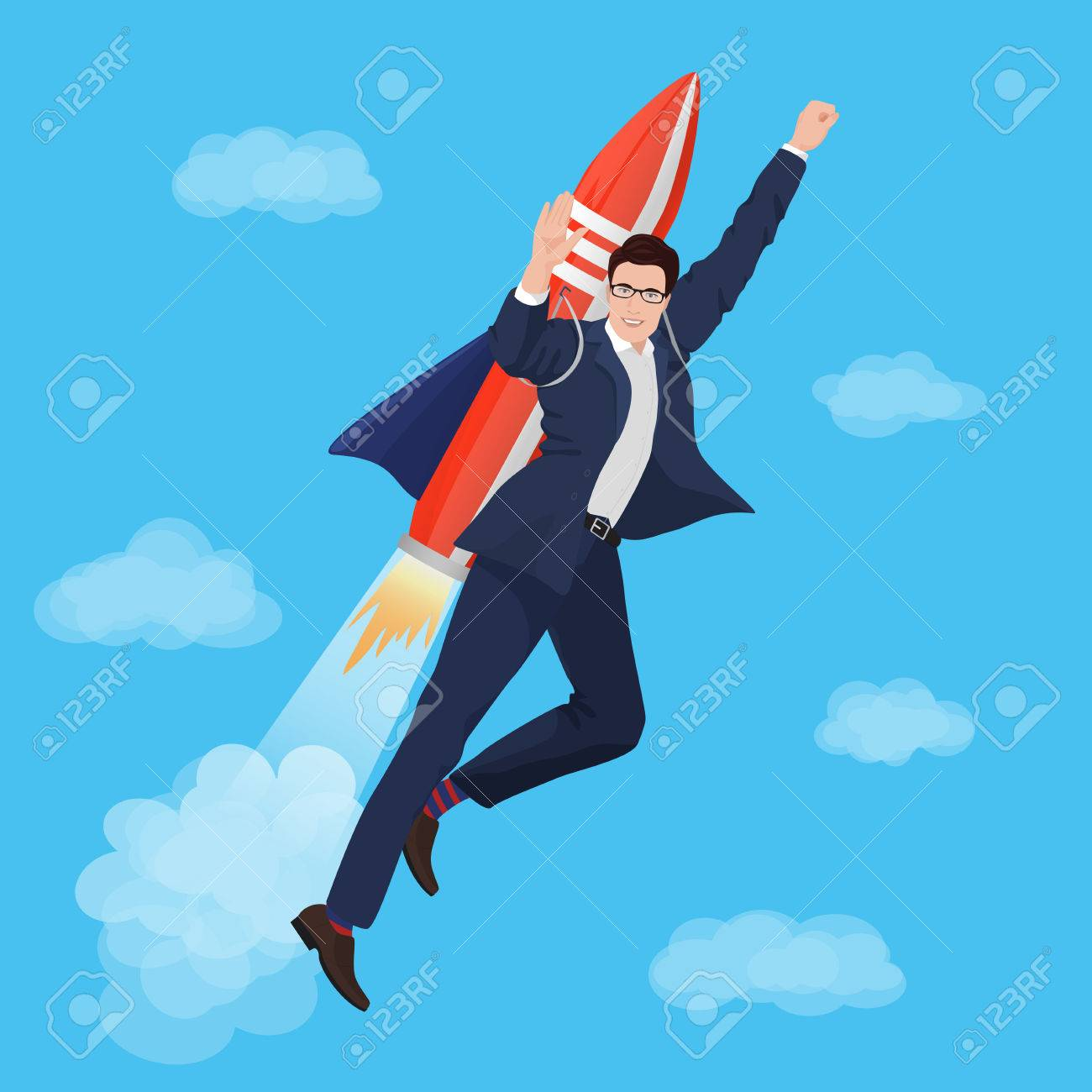 3360eb969df Happy Businessman flying with rocket backpack. Vector illustration Stock  Vector - 54919357