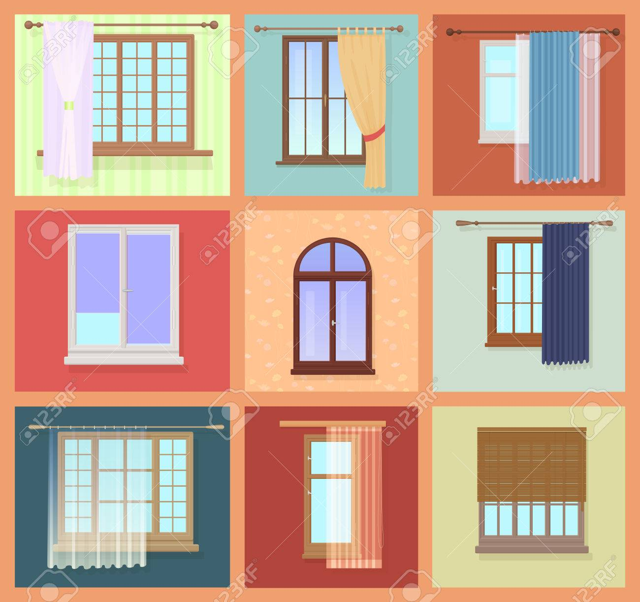 Set Of High Quality Various Vintage Windows With Curtains. Vector ... for Window With Curtains Illustration  55nar