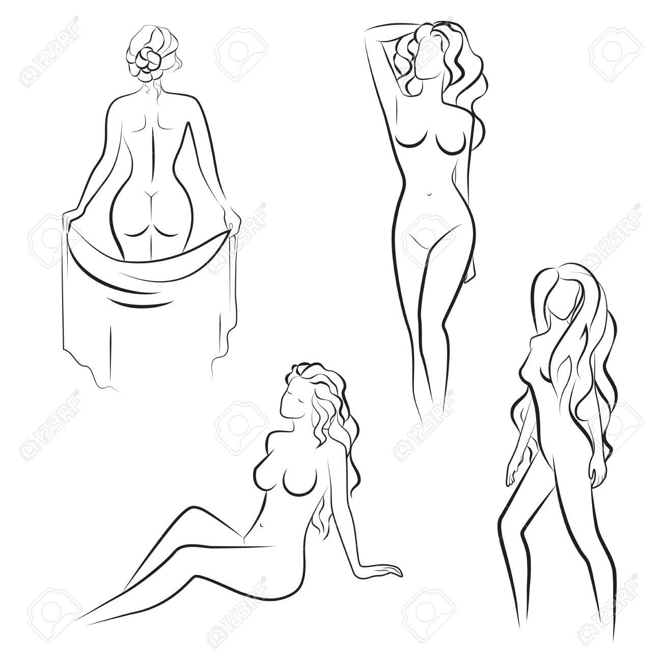 Siluetas De Dibujo De Líneas Hermosas De La Mujer Desnuda Ilustración Vectorial