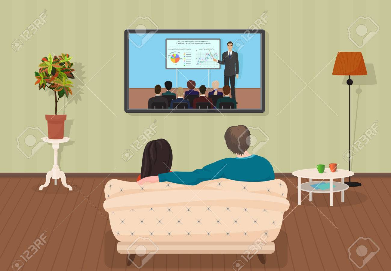 Young Family Man And Women Watching Tv Training Tutorial Program Royalty Free Cliparts Vectors And Stock Illustration Image 56606817