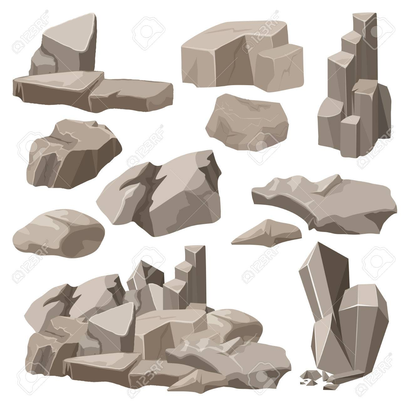 Rocks and stones elements collection set. Vector illustration - 56606867