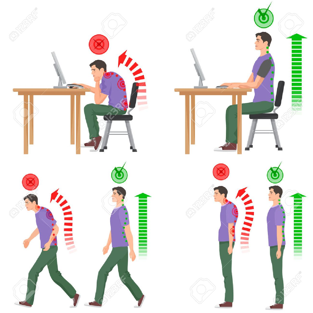 Correct and uncorrect bad sitting and walking position. Walking man. Sitting man. Back pain feeling and spinal injuries - 56606919