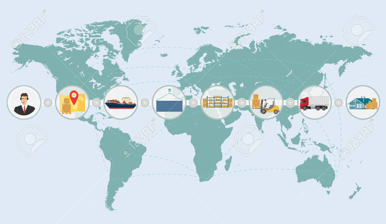 World map concept of cargo logistics delivery shipping service.. on