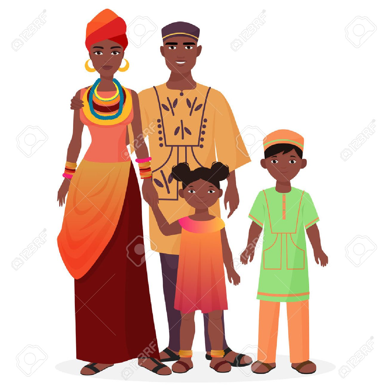 African family. African man and woman with boy and girl kids in traditional national clothes - 59029737