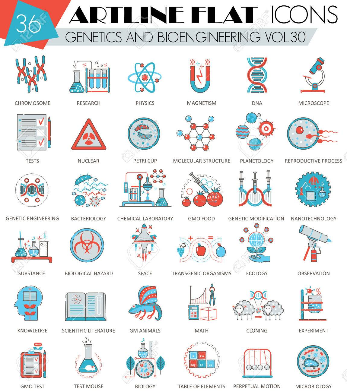 Vector Genetics and bioengineering ultra modern outline artline flat line icons for web and apps - 59875576
